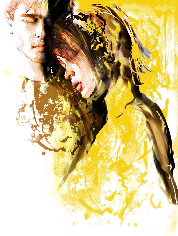 Rick Nease color illustration of woman resting her head on man's shoulder.