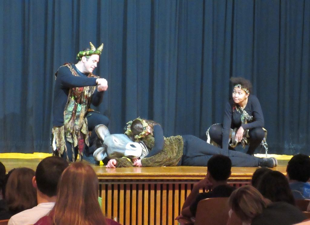 Nathaniel Scott (Oberon), Samual Wharton (Bottom), Sarah Mass (Titania) and Tammy Brown (Puck) act out one of the most amusing sequences in Shakespeare Now's production of