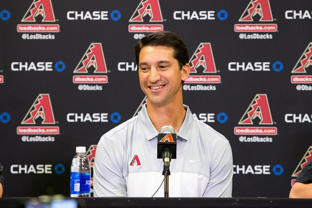 PHOENIX, AZ - OCTOBER 17: The Arizona Diamondbacks new General Manager, Mike Hazen, addresses the media in a press conference. (Photo by Sarah Sachs/Arizona Diamondbacks)