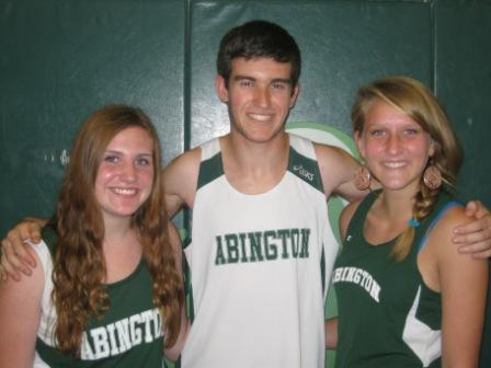 Cross Country captains Alison Phair (left), Nick Sideropoulos (center), Molly Atkinson (right)Andrew Johnson (Out running)