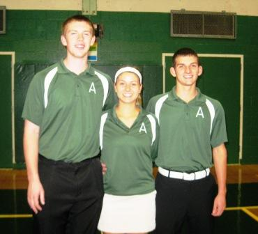 Seniors Michael Donaher, Lindsay Ryan and Captain Joe Marella