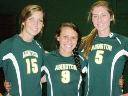Girls Soccer Seniors - Samantha Thompson (left), Captain Marianna Porcello (center) and Abby Magnussen (right)