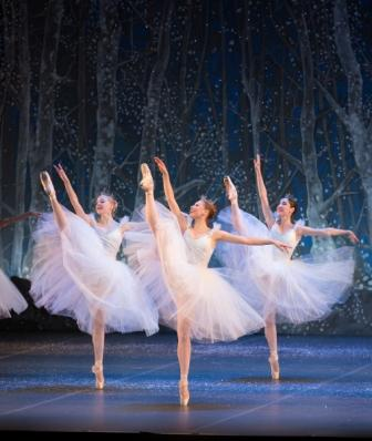 Dawn Atkins, Lauren Herfindahl, and Ekaterine Chubinidze in Boston Ballet's The Nutcracker by Rosalie O'Connor