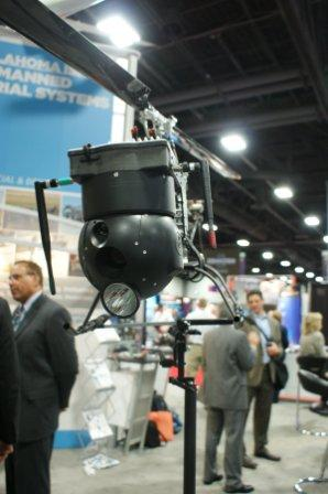 A RAPTR drone helicopter is displayed at the Association of Unmanned Vehicle Systems International conference in Washington, DC. (Maggie Clark/Stateline/MCT)
