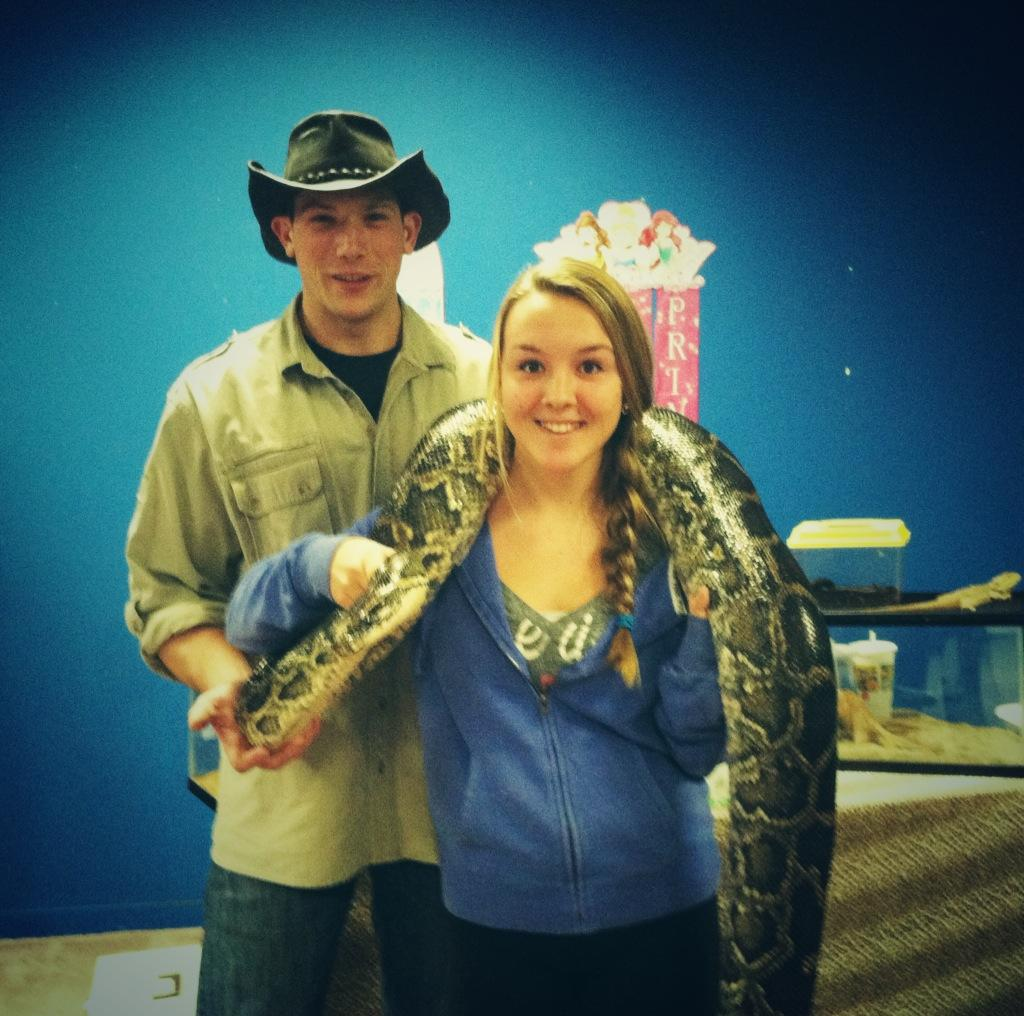 Staff Writer Kailey Campbell with Joe Kenney and his boa constrictor