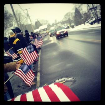 Abington Students Honor Sgt. Daniel M. Vasselian as his funeral procession passes