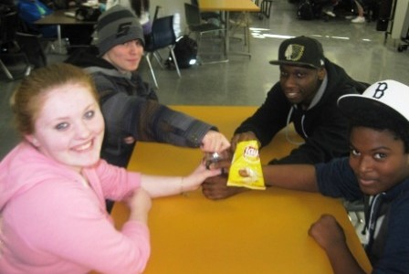 AHS Students enjoying their table in the cafeteria