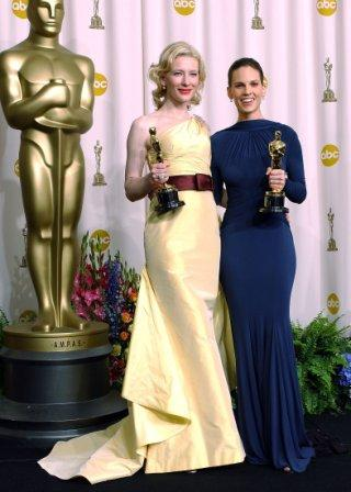 Academy Member Ken Swofford voted for Cate Blanchette to win another Oscar for her role in Blue Jasmine. OSCARS KRT PHOTOGRAPH BY ABACA PRESS (February 28) Best Supporting Actress winner Cate Blanchett, left, and Best Actress winner Hilary Swank pose in the press room backstage at the 77th Annual Academy Awards on February 27, 2005, in Los Angeles, California.