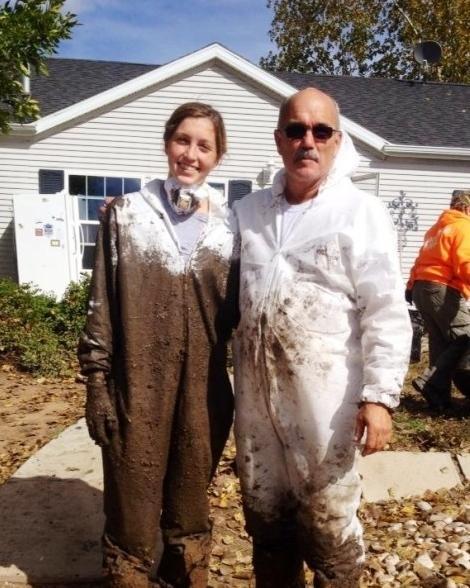 Senior Samantha Thompson and her Dad Matt Thompson Assisting Colorado flood  victims.