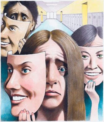 Doug Griswold illustration of stressed teenagers with happy-face masks. (Bay Area News Group/MCT)