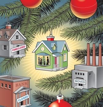 Doug Griswold illustration of Christmas tree ornaments, one a foreclosed house, one a foreclosed bank, one a moved factory and the last being a happy home with a family around the Christmas tree visible inside. San Jose Mercury News 2009