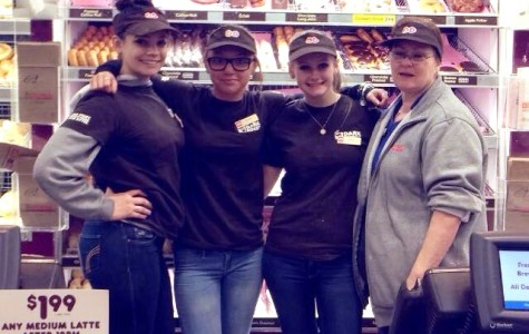 Kristina Sullivan (second from left) and three of her coworkers at Dunkin' Donuts. (Courtesy Kristina Sullivan)