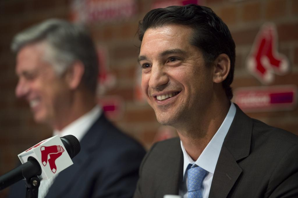 Boston Red Sox President of Baseball Operations Dave Dombrowski introduced Mike Hazen as the new Senior Vice President/General Manager of the Boston Red Sox during a press conference at Fenway Park on September 24.