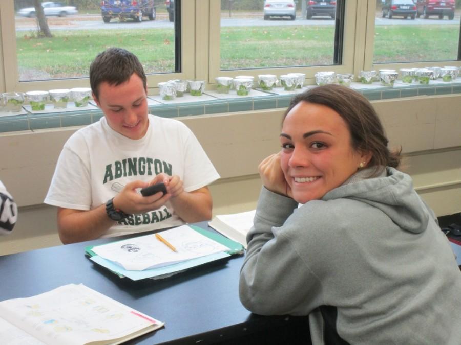 Brendan Glavin and Abbi Ricketson in Mr. Beer's anatomy class.