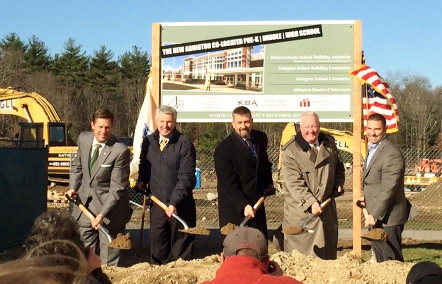 Left to Right - State Senator Geoffrey Diehl, State Senator John F. Keenan, School Superintendent, Peter Schafer, Mass School Building Authority Exec. Director, Jack McCarthy and School Building Committee Chairman Richard Testa