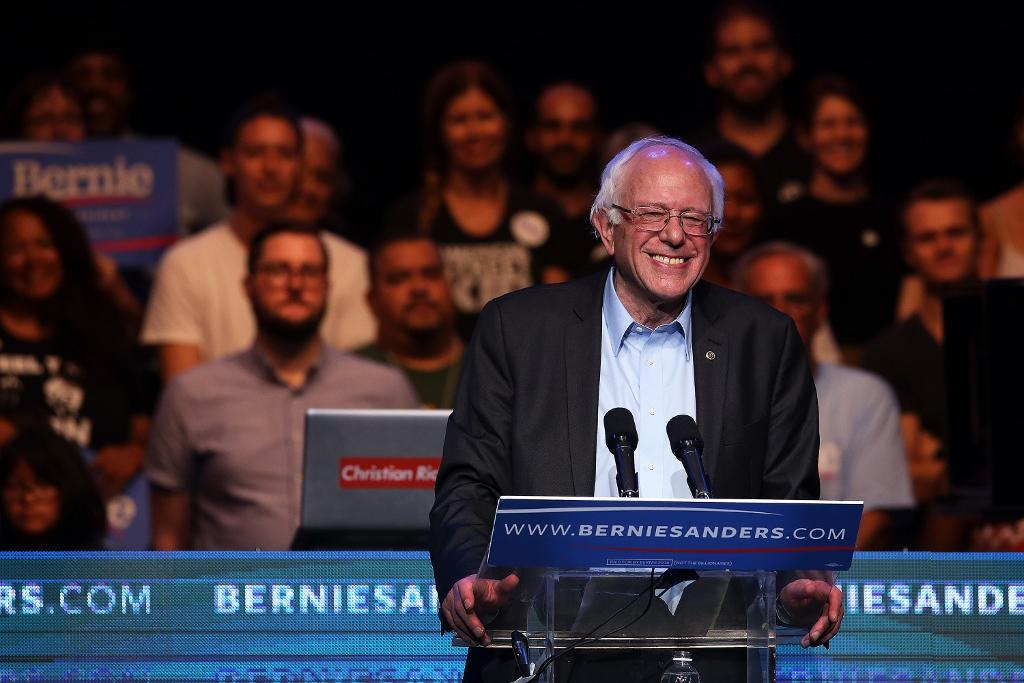 Democratic presidential candidate Bernie Sanders addresses a crowd at the Avalon in Los Angeles for a fundraiser following the campaign's first debate the prior night in Las Vegas.