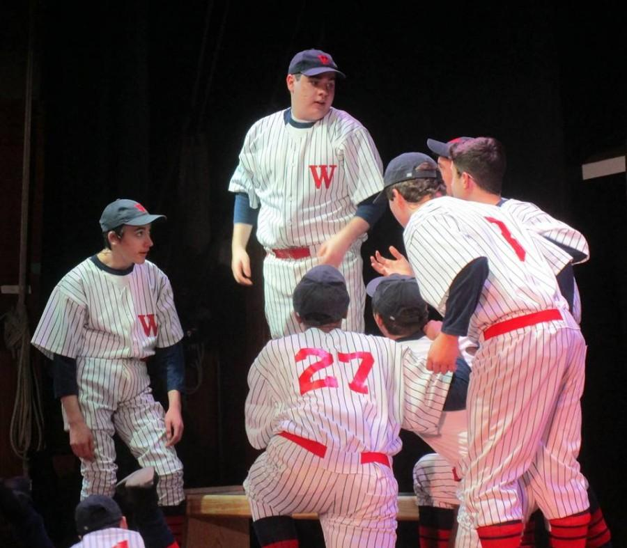 Riley+Morrison+leads+the+Senators+in+%22The+Game%22+in+the+Drama+Club%27s+production+of+%22Damn+Yankees.%22