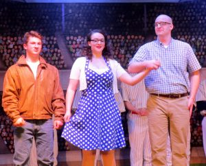 "David Lyons (Joe Hardy), Leah Alessi (Meg) and Mike Nickley (Joe Boyd) in ""Damn Yankees"""