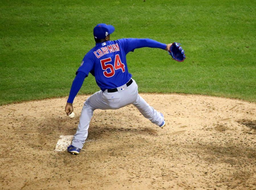 Cubs reliever Aroldis Chapman delivers a pitch in the eighth inning of Game 7.