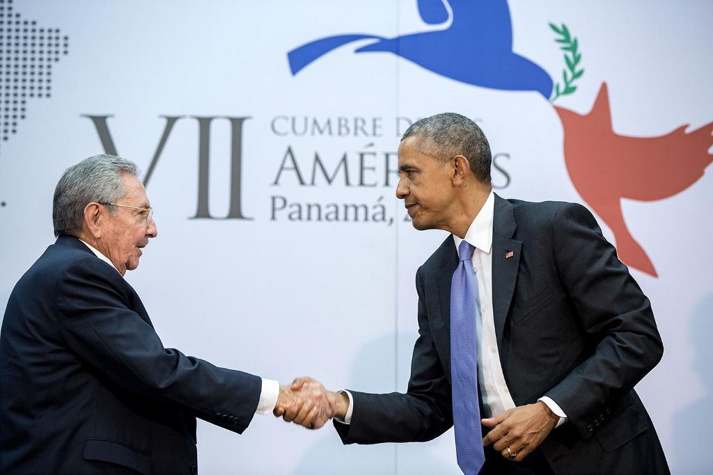 April 11, 2015 - The culmination of years of talks resulted in this handshake between the President and Cuban President Raúl Castro during the Summit of the Americas in Panama City, Panama. (Official White House Photo by Pete Souza) Public Domain
