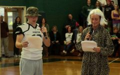Evan Fanara and Marina Brennan host the Pep Rally