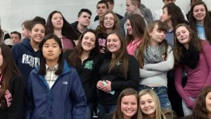 The Class of 2020 is the last class to have attended the old Abington High School. This photo, taken in the old gym, shows some members of the current senior class as freshmen during International Week, March of 2017.