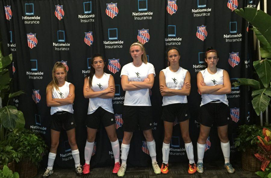 Hannah Liebke '20, Maddie Grafton '19, Brianna McCadden '18,Kayce Strobel 19, and Kayli Tobin '20 at the ESPN Wide World of Sports Pavilion
