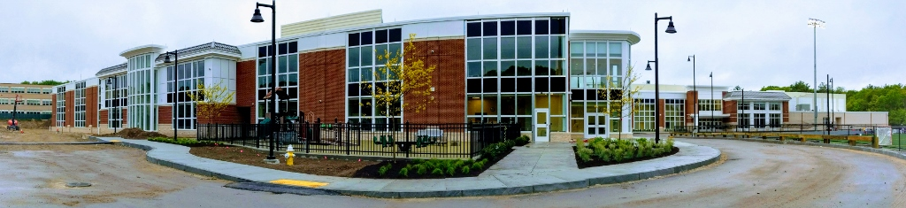 The high school side of the new Abington school building.