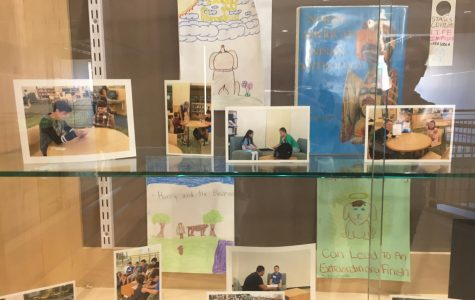 Display case highlighting pictures from the Myths to Fifth assignment