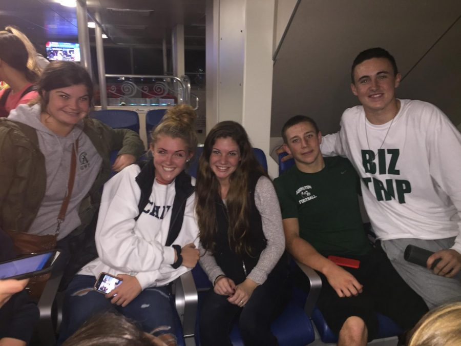 Marissa Siegel, Caitlin Dever, Reece Klein, Justin Keleher, and Jack Maguire on the boat ride back from the Vineyard