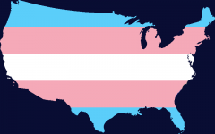 Transgender Pride Flag map of the United States of America