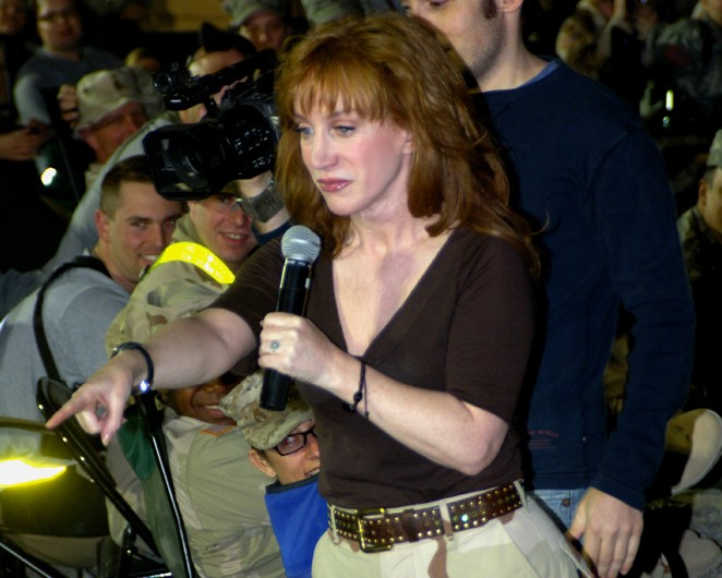 Kathy+Griffin+picks+out+a+servicemember+from+the+audience+to+participate+in+one+of+her+acts+during+her+final+performance+of+the+%22Firing+at+Will+Tour%2C%22+Camp+Victory%2C+March+19.