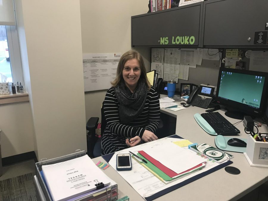 Mrs. Louko, AP, in her office at Abington High School on a February day in 2018.