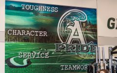The mural hanging in the new weight room at the co-located middle/high school highlights Abington Pride.