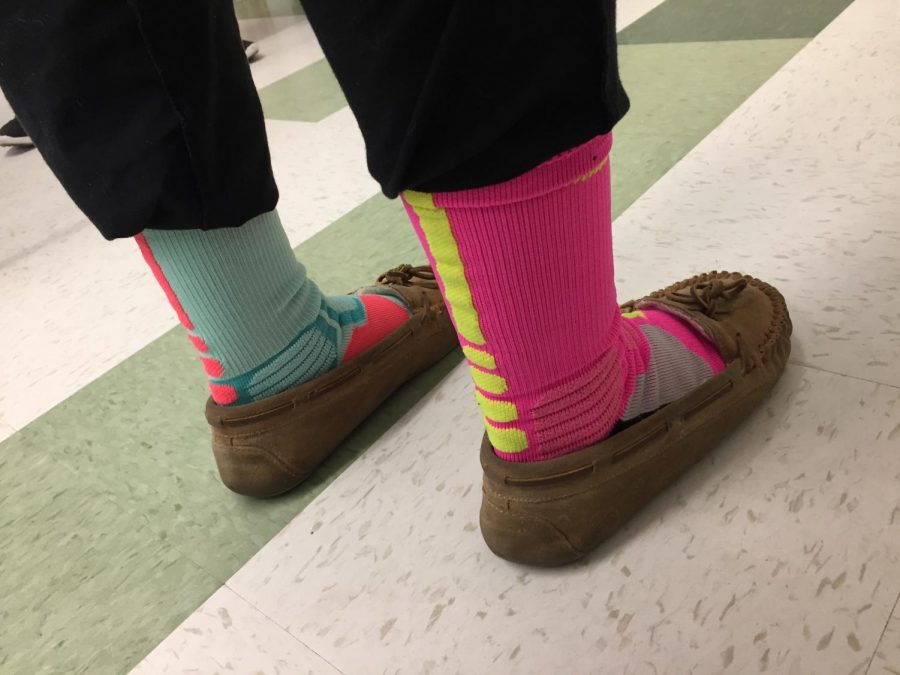 Mismatched and bright were some of the choices on Rock Your Socks Day