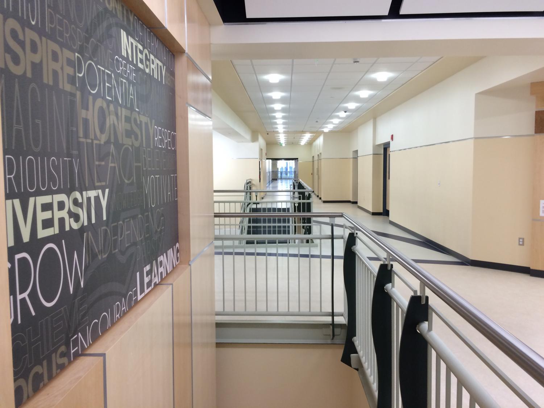 Empty hallway of Abington High School