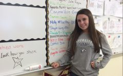 Molly McCarthy '(18) showing off her college insignia on Decision Day