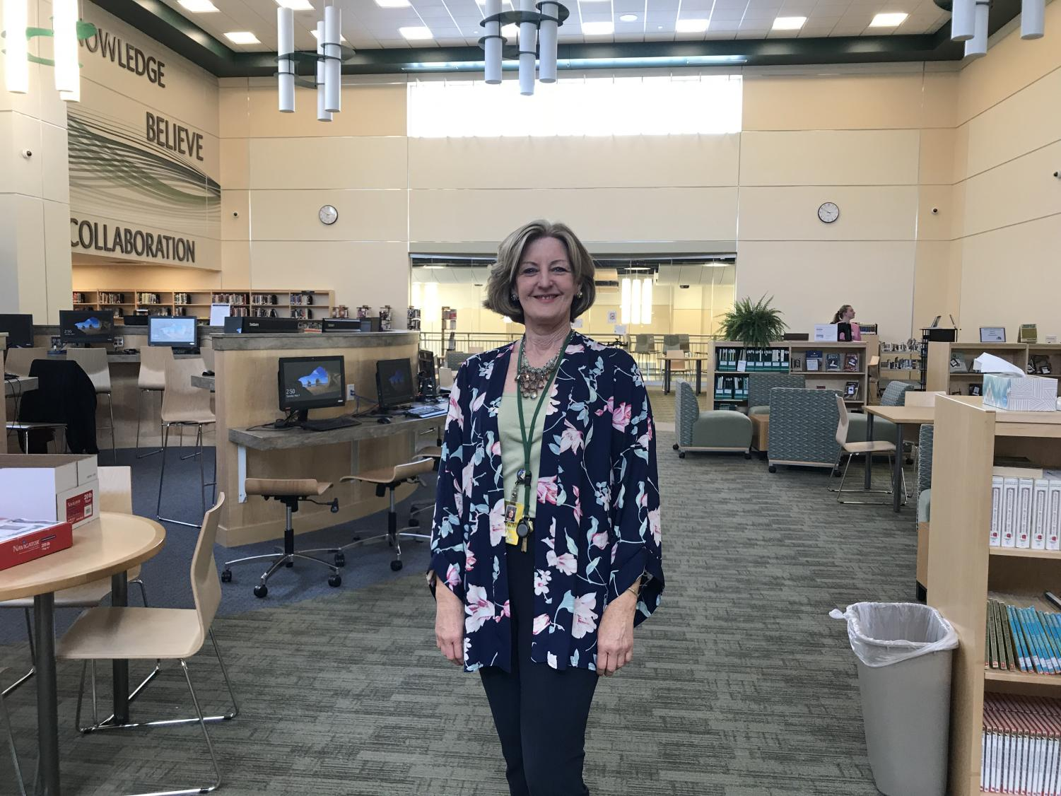 Ms. Crowley in the Library Media Center