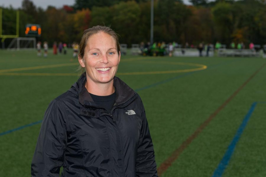 Mrs. Kate Casey, Health and Wellness Director in the Abington Public Schools and coach for the Girls Soccer team during Soccer Warm-ups this year.