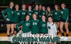 Abington Green Wave Volleyball Team with Coach Hamilton (fifth from right in rear) ready for the season.