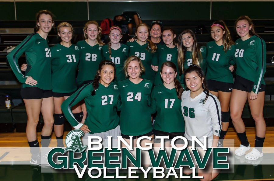 Abington+Green+Wave+Volleyball+Team+with+Coach+Hamilton+%28fifth+from+right+in+rear%29+ready+for+the+season.