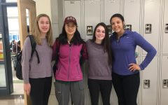 Students wear purple to support GSA, featuring Ailey Riddick, Vianne Shao, Abbey Odell, and Corin Mahan.