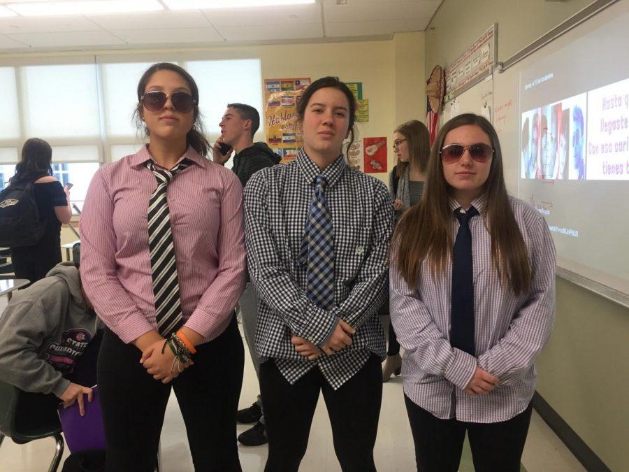 Students dress up for Classy Thursday, featuring  Juniors Corin Mahan, Lauren Keleher, and Liberty Woods.