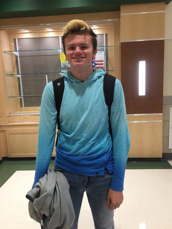 Senior Holden Nilsen wearing blue for APD Day