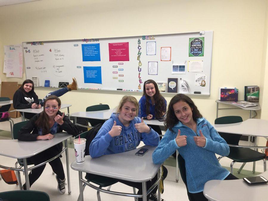 Juniors dress up for ADP Day, featuring Samantha Johnson, Emily Dankese, Jessica Ferraro, Mikayla Littman, and Izzy Miele