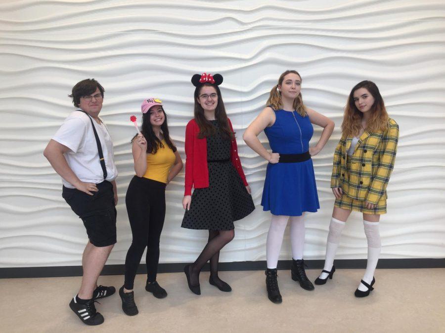 Character day featuring from left to right Junior Robert Tashjian, Seniors Jenna Galvin, Allison MacLeod, Abby Maynard, and Sarah St. John