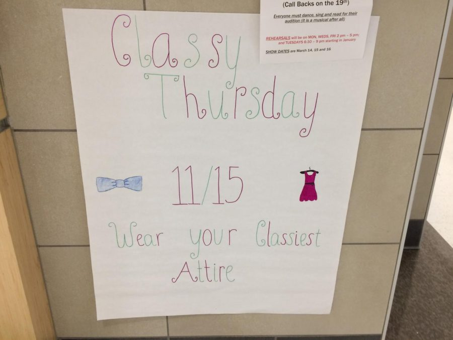 Poster advertising Classy Thursday.