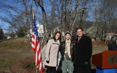 Eagle Scout Justin Maskell stands at Ford Memorial Park on Dec. 8 with Republican State Representative Alyson Sullivan and Geoff Diehl. Deihl, also an Eagle Scout, was the Republican nominee for U.S. Senate this past fall