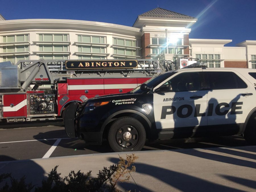 Abington's first responders arrive at the scene in front of the co-located middle and high school on Dec. 11 after an alarm sounded and students evacuated.