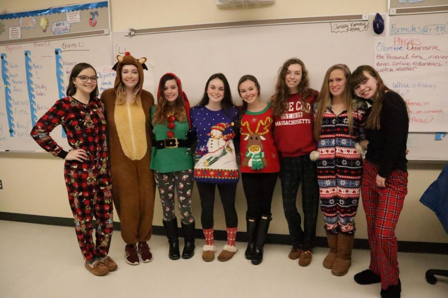Students dressed up on the last day before break in ugly sweaters and pajamas. Featuring seniors Maddie Caferro, Abbie Maynard, and Jenna Galvin ith juniors Abbey Odell, Emily Dankese, Lyndsie Roberts, Casey Strobel, and Kylie Roberts on the last day of classes for 2018 at AHS.
